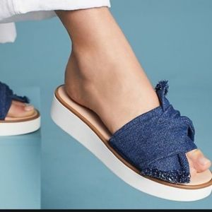 Anthropologie Coast Ii Frayed Denim Sandals